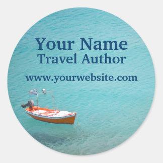 Aventura personalizada barco del viaje de los pegatina redonda