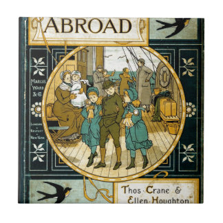 Aventuras en el extranjero en nave azulejo cuadrado pequeño