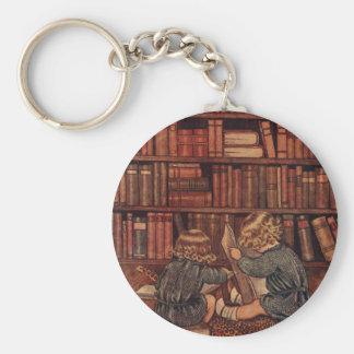 Aventuras en la biblioteca llavero redondo tipo pin
