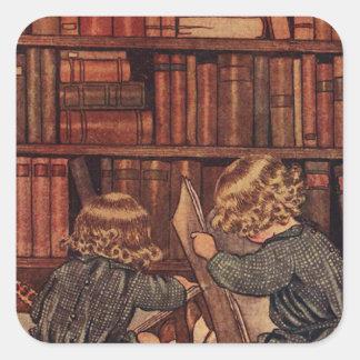 Aventuras en la biblioteca pegatina cuadrada