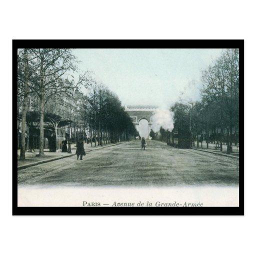 Avenue de la Grande Armee Paris Vintage Postcard