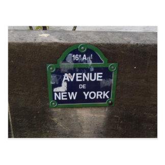 Avenue de New York Sign, Paris, France Postcard