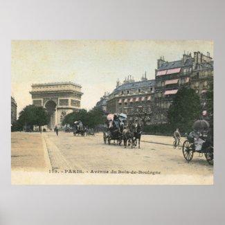 Avenue du Bois de Boulogne, Paris Vintage print