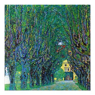Avenue in schloss kammer park art by Gustav Klimt 5.25x5.25 Square Paper Invitation Card