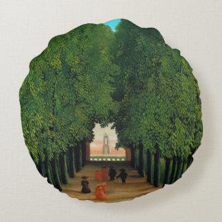 Avenue in the Park at Saint Cloud, Henri Rousseau Round Pillow