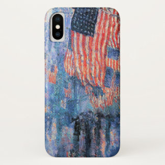 Avenue in the Rain by Childe Hassam, Vintage Art iPhone X Case