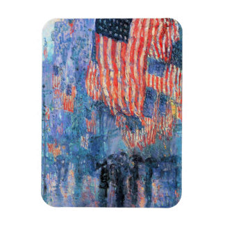 Avenue in the Rain by Childe Hassam, Vintage Art Magnet