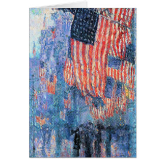 Avenue in the Rain, Hassam, Vintage Impressionism Greeting Card
