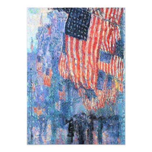 Avenue in the Rain, Hassam, Vintage Impressionism 5x7 Paper Invitation Card