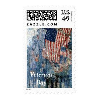Avenue in the Rain Veterans Day Postage
