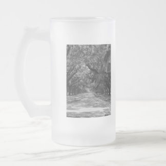 Avenue Of Oaks Grayscale Frosted Glass Beer Mug