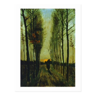 Avenue of Poplars at Sunset, Vincent van Gogh Postcard