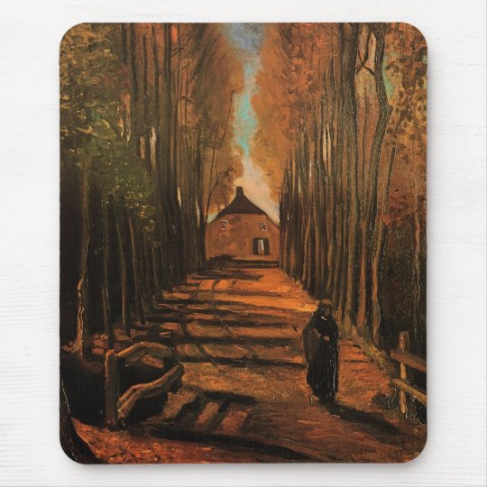Avenue of Poplars in Autumn Van Gogh Fine Art Mouse Pad