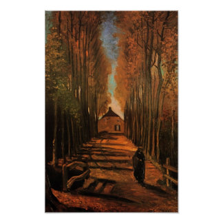 Avenue of Poplars in Autumn Van Gogh Fine Art Poster