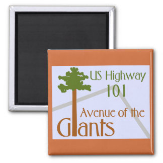 Avenue of the Giants 2 Inch Square Magnet