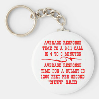 Average response time to a 911 call is 4-6 min keychain