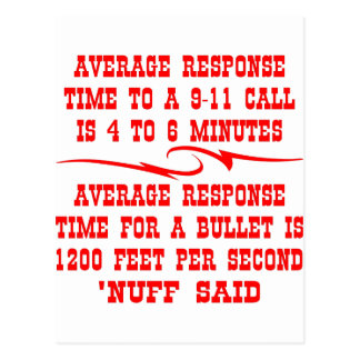 Average response time to a 911 call is 4-6 min postcard