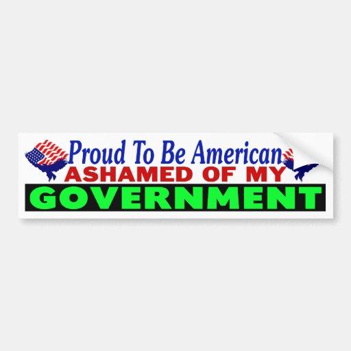 Avergonzado de mi gobierno pegatina de parachoque