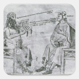 Averroes en la conversación con pórfido calcomanía cuadradas personalizada