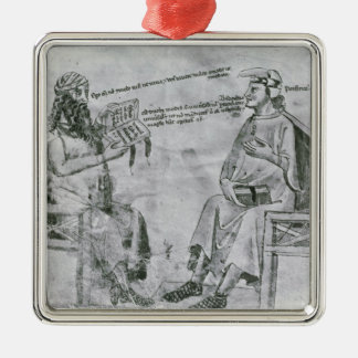Averroes  in Conversation with Porphyry Metal Ornament