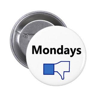 Aversión, lunes - botón (texto negro) pin redondo de 2 pulgadas