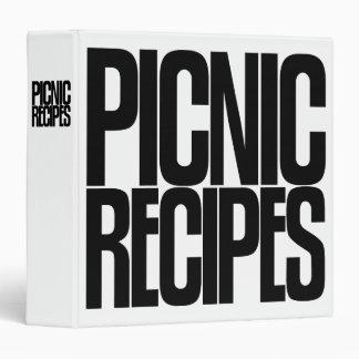 Avery Binder, Tall Skinny Text, Picnic Recipes 3 Ring Binder