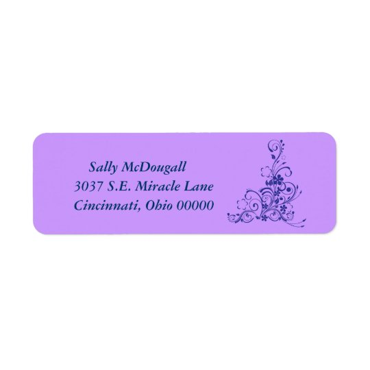 Avery Blue Floral Address Label