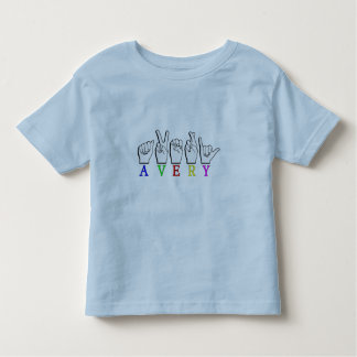 AVERY  FINGERSPELLED ASL SIGN NAME MALE TEE SHIRT