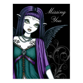 """Avery"" Gothic Angel Bird Cage Postcard"