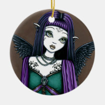 avery, gothic, tattoos, angel, fairy, faery, fae, faerie, fantasy, art, myka, jelina, mika, purple, angels, Ornament with custom graphic design