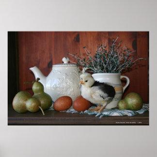 Aves de corral, peras y porcelana francesas póster
