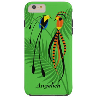 Aves del paraíso coloridas brillantes funda de iPhone 6 plus tough