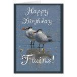 Aves marinas Gemelo-Idénticas del feliz cumpleaños Felicitacion
