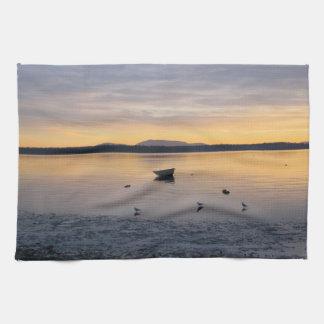 Aves marinas y barco toallas de cocina