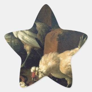 Aves nacionales con un faisán y los pavos reales pegatina en forma de estrella