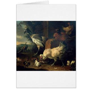 Aves nacionales con un faisán y los pavos reales tarjeta de felicitación