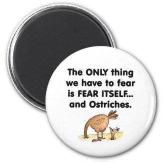 Avestruces del miedo sí mismo imán redondo 5 cm