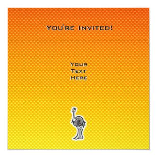 "Avestruz linda; Amarillo-naranja Invitación 5.25"" X 5.25"""