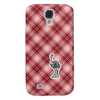 Avestruz linda; Tela escocesa roja Funda Para Galaxy S4