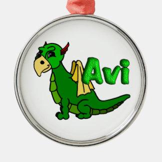 Avi (with name) metal ornament