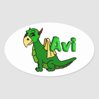 Avi (with name) oval sticker