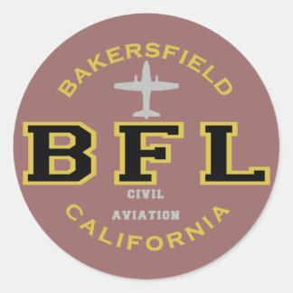 Aviación civil de Bakersfield, California Pegatina Redonda