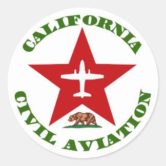 Aviación civil de California Pegatina Redonda