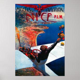 Aviación de D de la reunión en Niza, poster de Fra