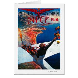Aviación de D de la reunión en Niza, poster de Fra Tarjetón
