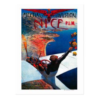 Aviación de D de la reunión en Niza, poster de Postal