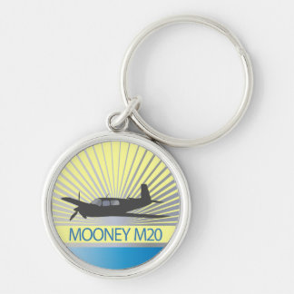 Aviación de Mooney M20 Llavero Redondo Plateado