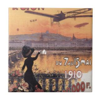 Aviación del francés del vintage azulejo cuadrado pequeño