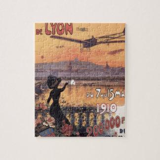 Aviación del francés del vintage puzzle con fotos