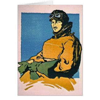 Aviador 1916 del vintage tarjeta de felicitación